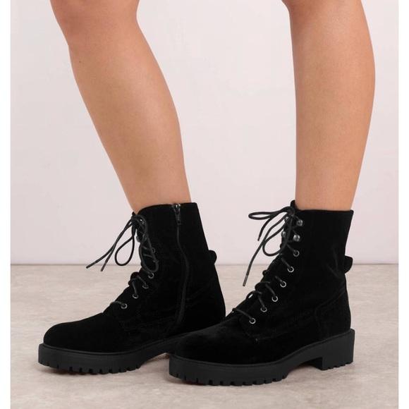Black Velvet Combat Boots | Poshmark